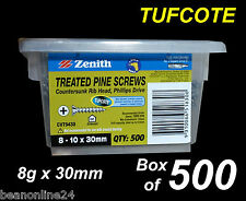 Treated Pine Timber Screws - Tufcote -  BULK 8g x 30mm - Box of 500