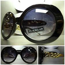 OVERSIZE VINTAGE Jackie ROUND SUN GLASSES Black & Gold Chain Link Effect Frame