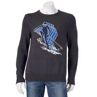 Urban Pipeline Men's Skier Sweater Grey Downhill Ski Design NWT Cotton Blend
