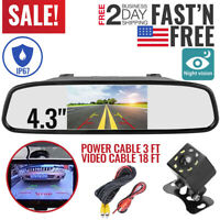 Backup Camera Mirror Car Rear View Reverse Night Vision Parking System Kit USA