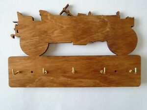 Wooden Jeep design  key holder- laser cut 5 hooks fathers day birthday gift