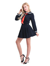 Women Girls Lolita School Uniform Long Sleeve Sailor Dress Pleated Skirt Costume