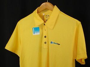 Adidas Men's Yellow Climacool Modern Fit Golf Polo 3 Button Shirt S NWT