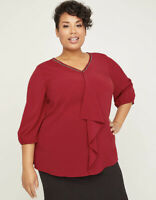 Catherines Black Label Womens Plus Size 1X Drape-Front Blouse Top Rumba Red $65