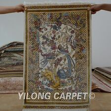 Yilong 2'x3' Persian Silk Hand-Knotted Rugs Pictorial Mystic Qum Carpets 0448