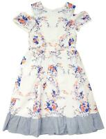 Girls Cold Shoulder Sun Blossom Flower Cotton Summer Maxi Dress 2 to 6 Years