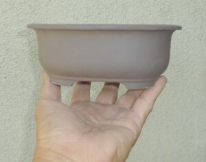 "Oval Zisha Bonsai Pot Shohin Planter Ceramic Unglazed 7""x5.75""x2.75"""