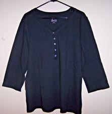 DENIM & CO. 3/4 Sleeve Knit Henley w/Rhinestone Buttons - Sz XL - NWOT