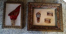 Framed Wall Art 4 Antique Victorian Hair Combs w/Rhinestones, Bird Wing Feathers