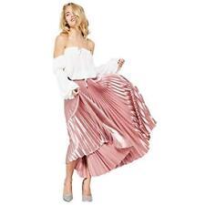 Vintage Metallic High Waisted Pleated Velvet  Midi Skirt