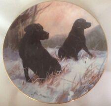 LE The Franklin Mint Black Labrador Plate Winter Watch by John Trickett BN