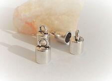 ♥ 10 embouts pour cordon bracelet, collier - argent antique - 12x8mm, trou 3mm