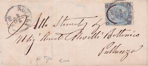 Italia - Regno 1865. Lettera da Novara a Pallanza del 05/03/1865,  20c. Celeste.