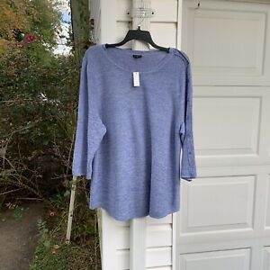 NWT Talbots Perfect For Leggings  Blue Heathered White Sweater 3X 22W 24W