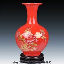 Chinese Home Feng Shui jingdezhen Red Porcelain chinaware Peony flower pot Vase