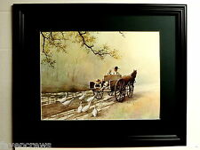 AMISH PICTURE AMISH FAMILY CHILDREN FEEDING DUCKS HORSE BUGGY MATTED FRAMED16X20