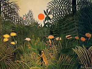 Henri Rousseau Negro Attacked by a Jaguar Giclee Canvas Print size 24x32