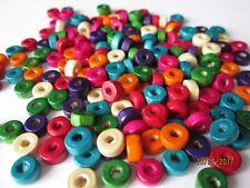 200 Bois Rond Plat Disque Perles 6 mm Assortiment sans plomb Couleurs