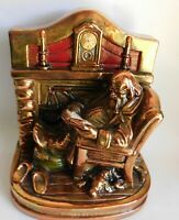 Vintage Armor Bronze Santa Claus Sitting By Fireplace Statue or Book End Signed