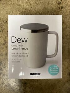 """Dew Glossy Finish Brew-In-Mug With Basket Infuser & """"Mirror"""" Lid 18oz TURQUOISE"""