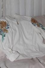 Bob Mackie Fleece Embroidered Floral Jacket Plus Size 3X Wearable Art Off White