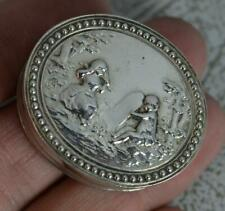 Quirky Continental Silver Oval Solid Silver Box with Tombstone Scene