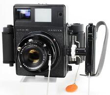 Pretty Black Mamiya Press Super 23 with ground-glass back & 6x7 roll back