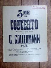 PARTITION ANCIENNE G. Goltermann 3e CONCERTO pr violoncelle (avec accomp. piano)
