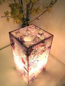 """Hard to Find Amethyst Semi Precious Stone Table Lamp 12"""" H Artisan Hand Crafted"""