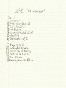 Tupac Shakur (2Pac) Signed Hand Written Track List JSA Authenticated
