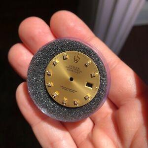 Vintage Rolex Datejust Diamond Dial Gold Champagne Stick Factory 16013 16233