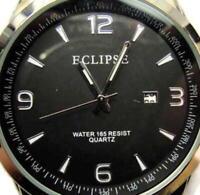 NWOT Eclipse By Armitron Men Black Round WR Date EC1022SV Watch Quartz New Batt