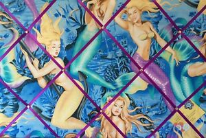 60x40cm Alexander Henry Mermaid Pin Up Hand Crafted Fabric Notice Memory Board