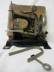 "Vintage ""Fairylite"" German Childs Hand Crank Sewing Machine, Clamp & Box"