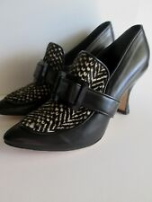 DEE KELLER Black & White Fur HEELS 37 EU Shoes NEW Buckle 7 USA