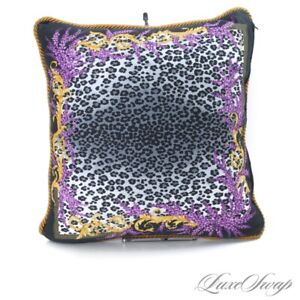 Versace Made in Italy Grey Leopard Print Orchid Floral Barocco Pillow Cushion NR