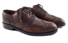 POLLINI Brown Leather Wingtip Brogue Oxford Dress Shoes, Men's Shoes Size UK 8.5