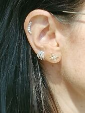 14k Rose, Yellow or White Gold Ear Climber/ Earring with 1/4 Cttw Diamond