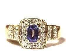 14k yellow gold .26ct SI2 H womens diamond tanzanite ring 5.9g estate vintage