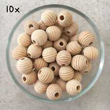 10x Natural Wood 20mm unfinished beehive textured beads baby teething jewellery