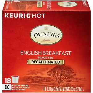Twinings DECAF English Breakfast Tea 18 to 144 Keurig K cups Pick Any Quantity