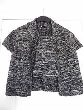 OASIS Short Sleeve Cropped Cardigan with Tie-Neck - Black/White UK 12 (EUR 38)