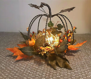 Rustic Twisted Metal PUMPKIN Fall Floral Autumn Thanksgiving Lighted Centerpiece