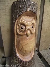 Owl Log Carving - Hand Carved  - Wildlife - Nature gift - 25cm tall - Free post!