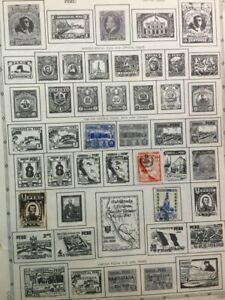 TCStamps LOOK! Stamps 13 Pages OLD  Peru Postage Stamps #263
