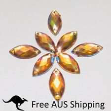 Sparkle Yellow AB Flatback Acrylic Crystal Rhinestones Horse Eye 7x15mm Sew On