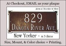 Montague New Yorker Address Sign Personalized Plaque: 3 Sizes 2 Mounts 20 Colors