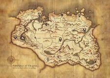 Skyrim Map The Elder Scrolls Gaming Poster Art Print A0 A1 A2 A3 A4 A5 Maxi