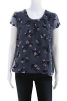Rebecca Taylor Womens Cap Sleeve Crew Neck Floral Blouse Blue Silk Sheer Size 8