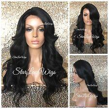 Long Full Wig Loose Wavy Bangs Layers Jet Black #1 Heat Safe Ok